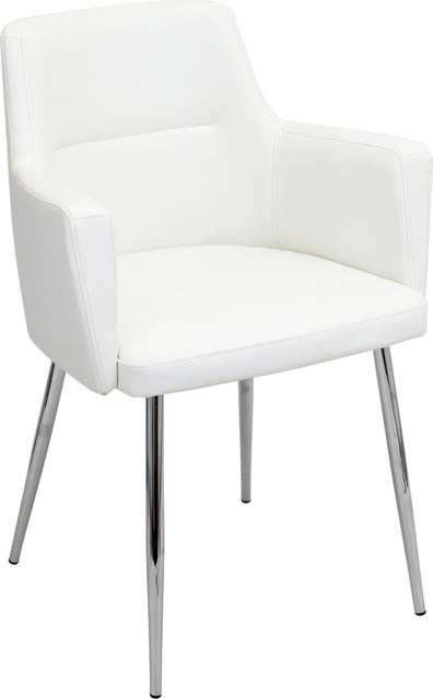 Lumisource Andrew Set of 2 Dining Chair White  sc 1 st  Houzz & Andrew Dining Chairs Set of 2 - Midcentury - Dining Chairs - by ...