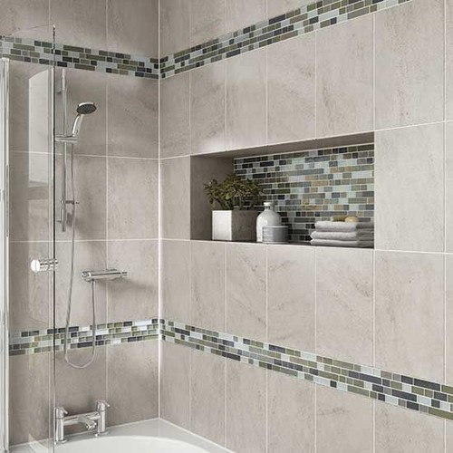 Vertical Tile Layout With Horizontal Accent Band In Shower