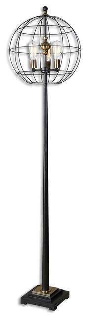 Palla 3-Light Floor Lamps, Aged Black.