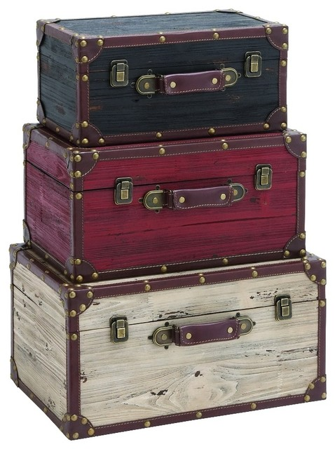 Old Fashioned Set Of 3 Wood Trunks Black Red White Home Storage Decor  Traditional Decorative
