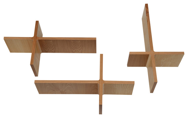 1956 Ray Vector Wooden Wall Shelves, 3 Piece Set, Ash Modern Display