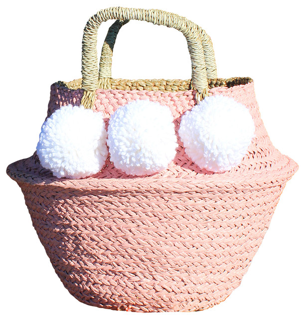 Pink Seagrass Belly Basket With White Pom Poms Nursery