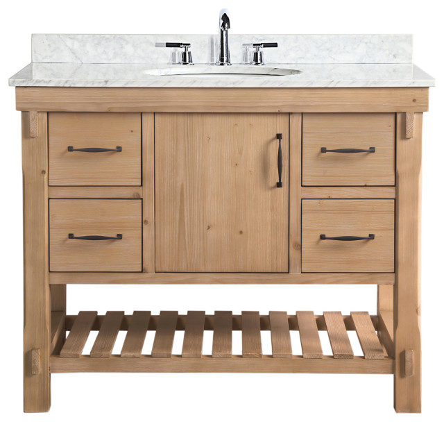 Marina 42 Bathroom Vanity Driftwood Finish Transitional Bathroom Vanities And Sink Consoles By Ari Kitchen Bath Houzz