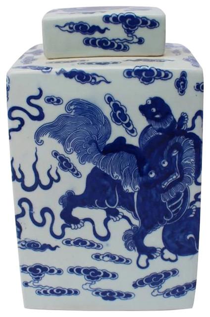 Marigold Modern Classic Blue and White Porcelain Foo Dog Square Tea Jar