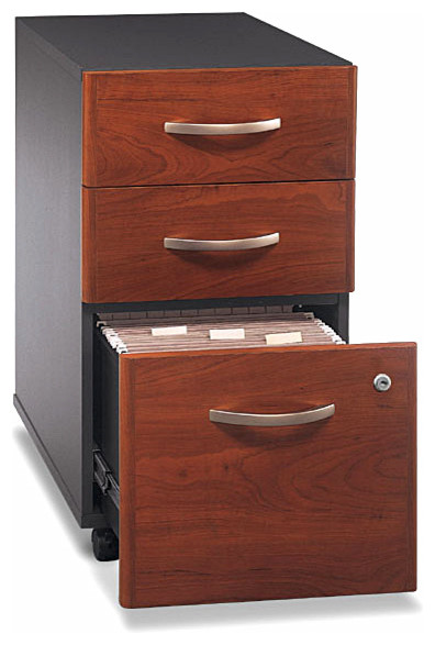 Fully Assembled Hansen Veneer Mobile 3 Drawer File Cabinet - Contemporary - Filing Cabinets - by ...