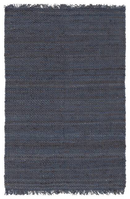 Jute Blue Fringe Farmhouse Rug Beach Style Area Rugs