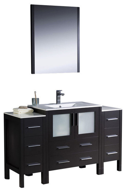 54 Inch Single Sink Bathroom Vanity In Antique White: 54 Inch Modern Single Sink Vanity