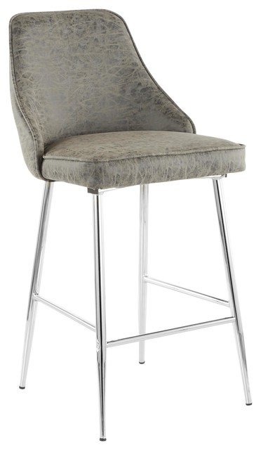 Strange Marcel Contemporary Counter Stool In Chrome And Grey Faux Leather Set Of 2 Caraccident5 Cool Chair Designs And Ideas Caraccident5Info