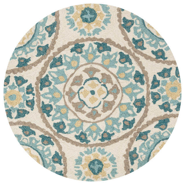 Loloi Francesca Collection Rug, Ivory And Beige, 3&x27;x3&x27; Round.