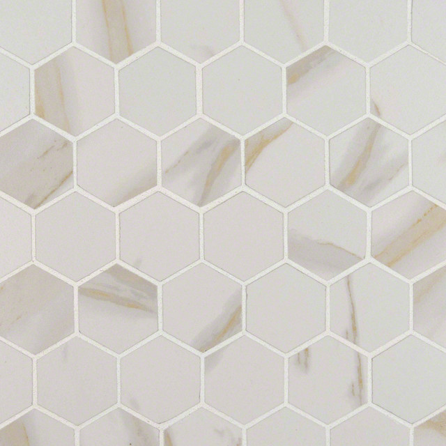 White Calacatta 2 Hexagon Pietra Porcelain Tile Polished