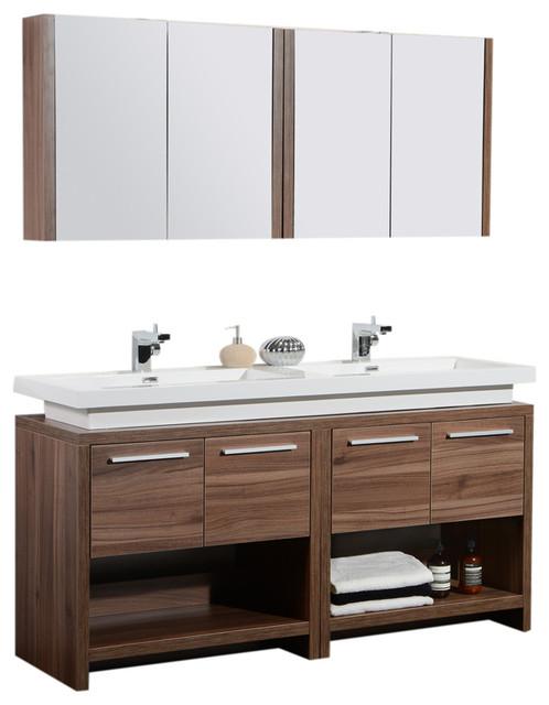 Aquamoon Sparta 63 Walnut Double Sink Modern Bathroom Vanity Set