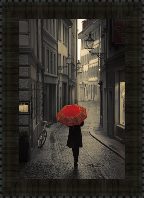 Red Rain By Stefano Corso, Framed Wall Art, Ready To Hang.