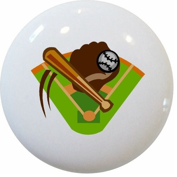 Carolina Hardware and Decor, LLC Baseball and Bat Ceramic Knob - Cabinet And Drawer Knobs | Houzz