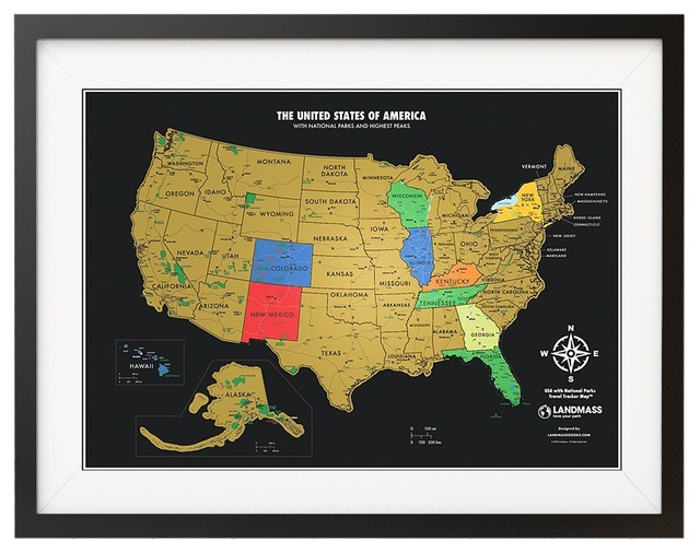 Scratch Off USA Map With National Parks, Travel Tracker Map®, Black on red usa map, folding usa map, black usa map, white usa map, gold usa map, signature usa map,