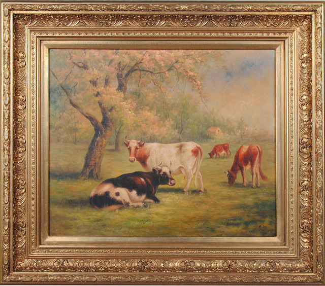 Cows At Pasture Oil Painting.