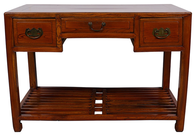 Consigned Antique Chinese Carved Beech Wood Writing Desk