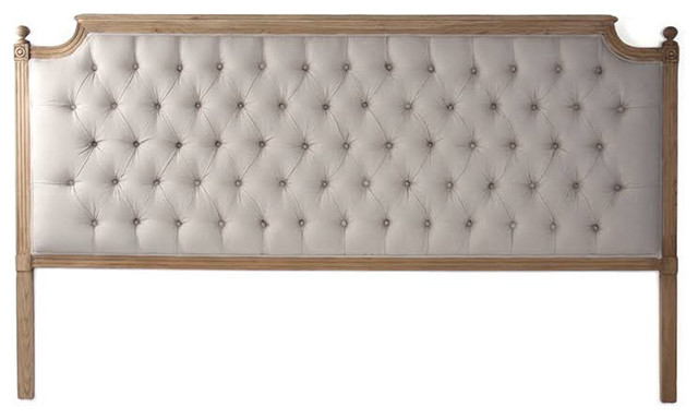 Louis Tufted Headboard, Natural Linen, King.