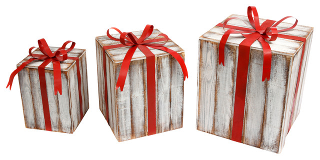 Extra Large Nesting Wood And Metal Holiday Gift Boxes With Bow, Set Of 3.