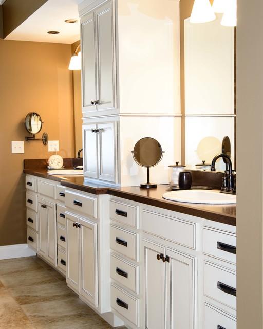 Master bath with hidden coffee area traditional for Bathroom vanities chicago suburbs