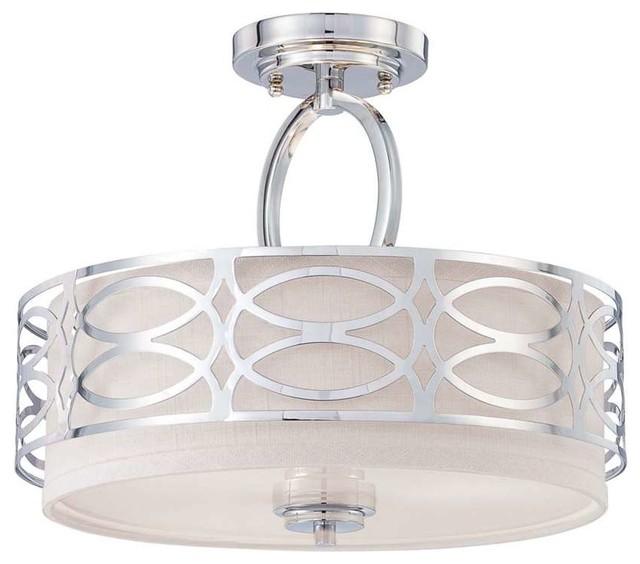Bathroom Light Fixtures With Fabric Shades nuvo harlow 3-light semi flush fixture with fabric shade