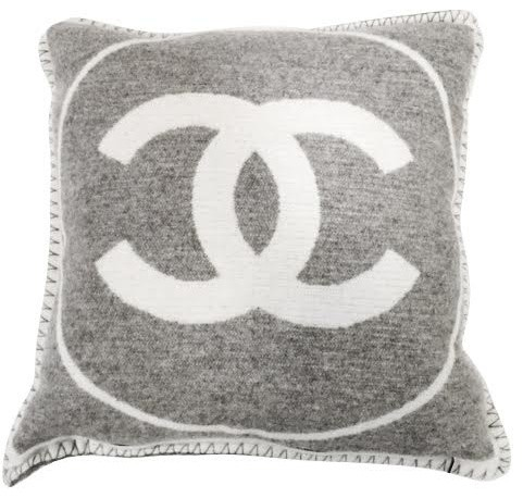 Authentic Chanel Gray And White Reversible Cashmere Pillow.