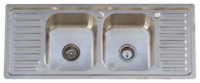 304 Stainless Steel Vintage Style Farm Sink Stamped Metal Double