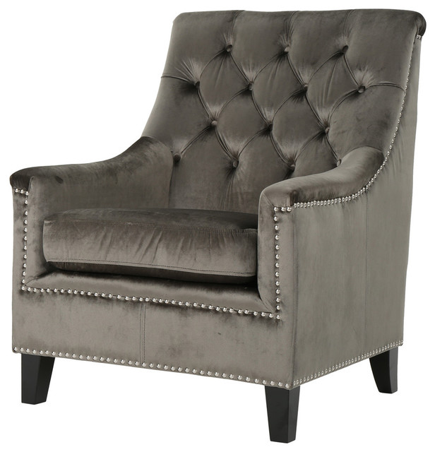Jacey Tufted Back New Velvet Club Chair Midcentury