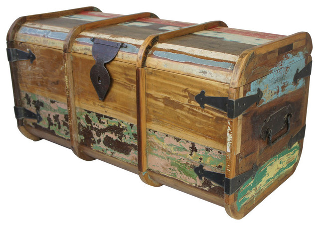 painted teak trunk coffee table rustic decorative. Black Bedroom Furniture Sets. Home Design Ideas