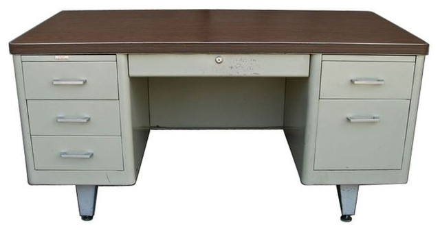 Famous Vintage Metal Double Pedestal Tanker Desk - $1,600 Est. Retail  CO09
