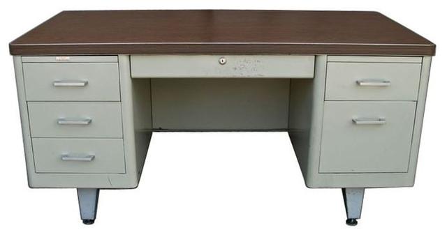 Vintage Metal Double Pedestal Tanker Desk   $1,600 Est. Retail   $500 On  Chairis Midcentury