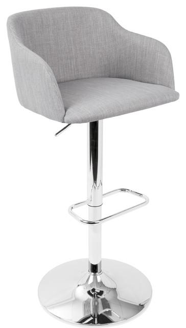 LumiSource Daniella Adjustable Height Barstool, Light Gray
