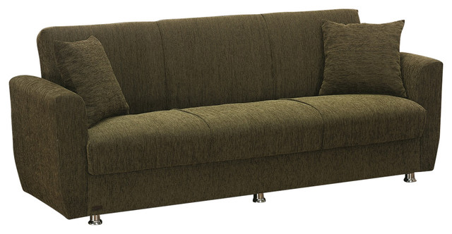 Empire Furniture Usa Edison Modern Fold Out Convertible Sofa Bed, Green.