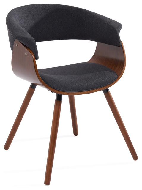 Mid Century Fabric And Bent Wood Accent Chair, Charcoal Gray