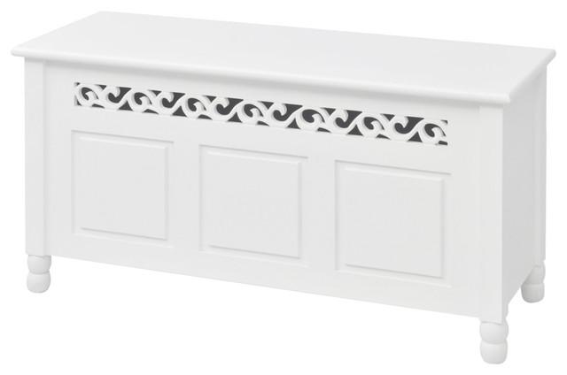 vidaXL Baroque Style MDF Storage Bench, White