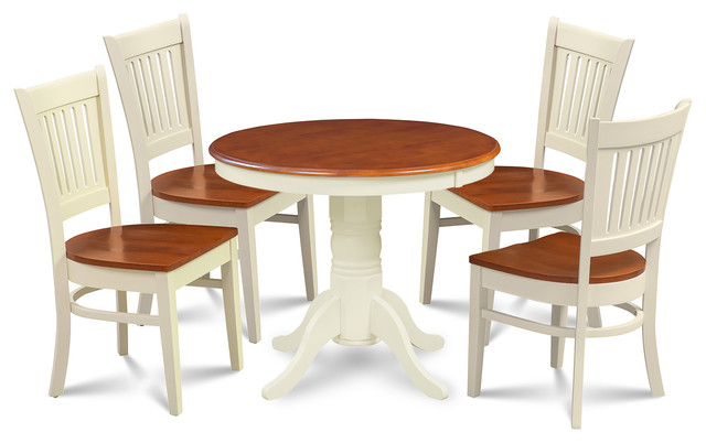 M d furniture llc brookline 5 piece round kitchen dining for Traditional round dining table sets
