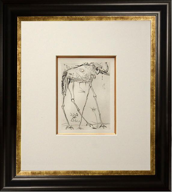 elephant framed etching artwork by salvador dali 17x19 modern