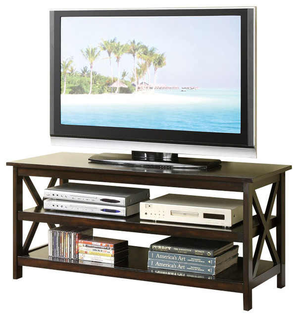 3 Shelf Dark Veneer Tv Stand Entertainment Center With X Accents On Frame Centers And Stands By Flatfair