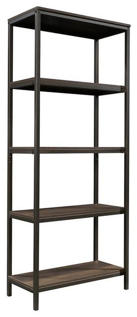 Sauder North Avenue 4 Shelf Bookcase in Smoked Oak