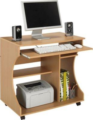 curved computer desk trolley beech effect modern. Black Bedroom Furniture Sets. Home Design Ideas