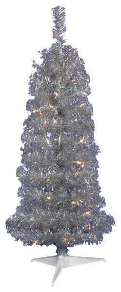 4 5 Pre Lit Silver Artificial Tinsel Pencil Christmas Tree Clear Lights