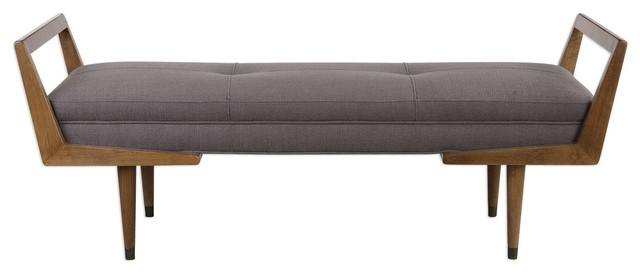 "Waylon 59"" Modern Bench Smooth Oak/oatmeal Fabric. -1"