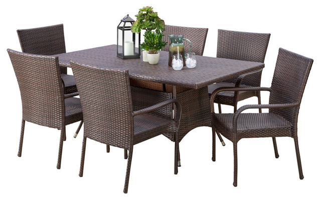 GDF Studio 7 Piece Kory Outdoor Multibrown Wicker Dining Set