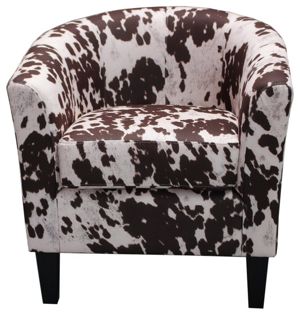Cowhide Barstools Vintage Black White Hairhide Leather Bar: Madge Cowhide Pattern, Fabric Accent Chair