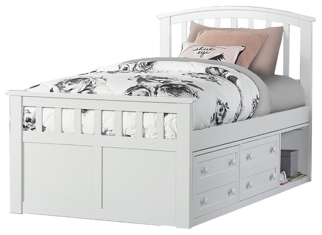 Charlotte White Twin Captains Bed, La Salle Twin Captain S Bed With Trundle And Storage Drawers White