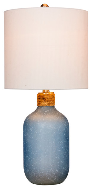 "26"" Coastal Bottle Glass Table Lamp In Frosted Blue."
