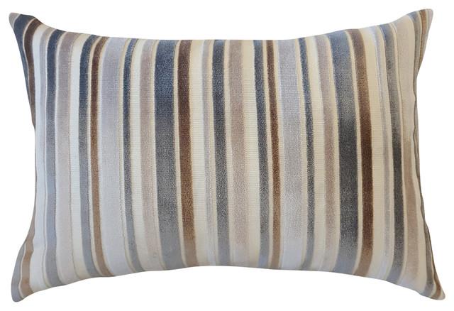 Brown/tan/gray Vertical Stripe Velvet Decorative Lumbar Pillow Cover.