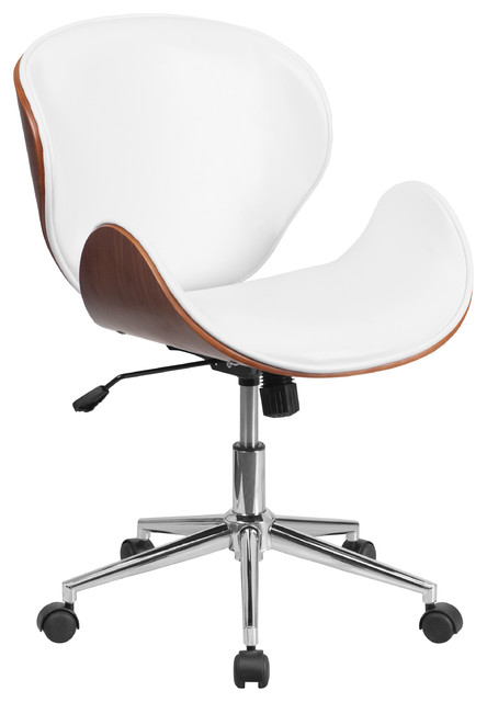 Jefferson Mid Back Swivel Chair, Wood And Leather, Walnut/White  Contemporary