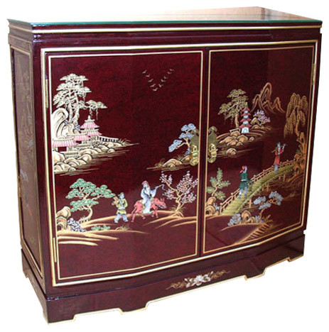 32 Tortoise Shell Red Oriental Cabinet