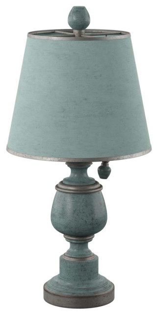 Palma Accent Table Lamp, Blue, Chelsea Blue Hardback Fabric Shade