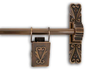 Victorian Solid Brass Decorative Tapestry Hanger, Antique Brass Finish. -1